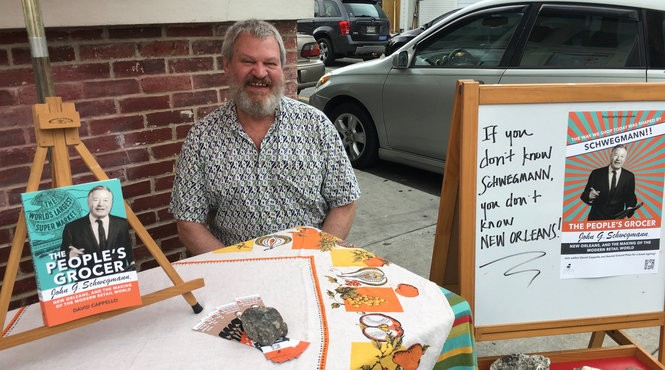 Author David Cappello signs his book, 'The People's Grocer: John G. Schwegmann' at St. Roch Market on April 9, 2017. Cappello will sign again at Crescent City Farmers Markets, April 11, 13, 15. (Photo by Ann M. Maloney, NOLA.com | The Times-Picayune)