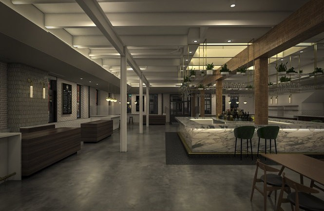 The Auction House Market will feature stalls for 10 food and drink businesses, including a bar, oyster bar, coffee house and pastry. (Lindsay Butler)