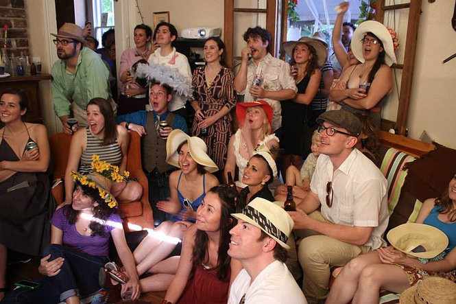 And, they're off, party-goers cheer for their pony at Sarah Fouts' annual Kentucky Derby party in New Orleans. She says more than 50 people come in and out of her apartment on race Saturday. (Photo from Sarah Fouts)