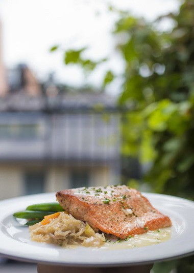 Salmon with Choucroute and Gewurztraminer Sauce at Bayona in the French Quarter, Thursday, July 13, 2017. (Photo by Chris Granger, NOLA.com | The Times-Picayune)