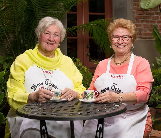 Anne Leonhard and Robin Harriet at the New Orleans School of Cooking, where they teach cooking. The women wrote 'Across the Table: Recipes & Stories from Two New Orleans Friends,' which features classic Crescent City cooking. (Photo by Matthew Noel)