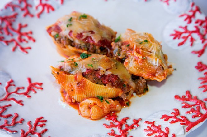 Stuffed shells from 'Across the Table: Recipes & Stories from Two New Orleans Friends,' features the book's versatile beef and Italian sausage dressing. (Photo by Ann Benoit and Thomas Dalferes)