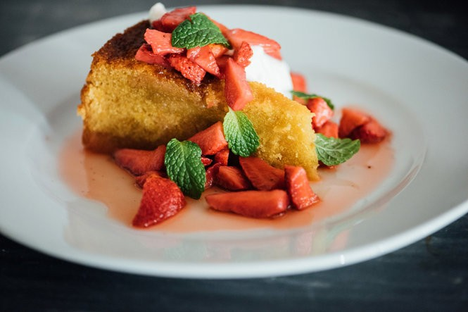 Sweet Cornbread Cake from chef Alex Harrell of Angeline restaurant in the French Quarter. (Denny Cuthbert)