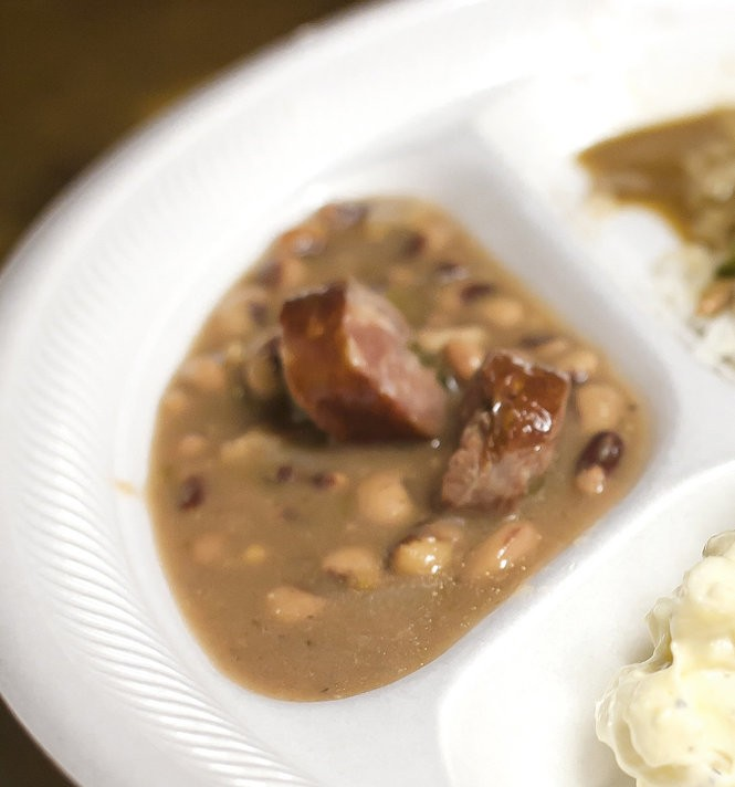 A scoop of Donald Link's Aunt Sally's black-eyed peas. (Photo by Chris Granger)