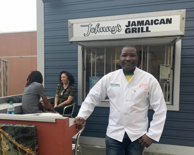 Clinton 'Johnny' Haughton, who is from Montego Bay, Jamaica, runs Johnny's Jamaican Grill at the Roux Carre food court on Oretha Castle Haley. It remains there until March 2018. Then, Haughton plans to return to his food truck, with the goal of opening his own restaurant soon. (Photo by Ann Maloney, NOLA.com | The Times-Picayune)