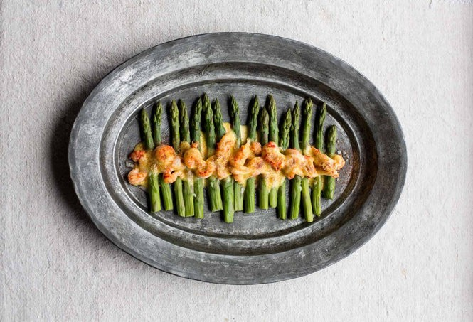Asparagus and Crawfish with Glazed Hollandaise from 'New Orleans Food: More than 250 of the City's Best Recipes to Cook at Home' (Feb. 20, 2018, Abrams, N.Y., $26.99) (Photo by Rinne Allen)