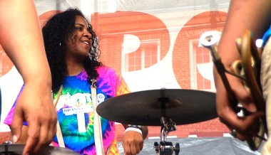 The Original Pinettes bandleader and snare drummer Christie Jourdain at French Quarter Fest 2015 (Photo by Doug MacCash / NOLA.com | The Times-Picayune)