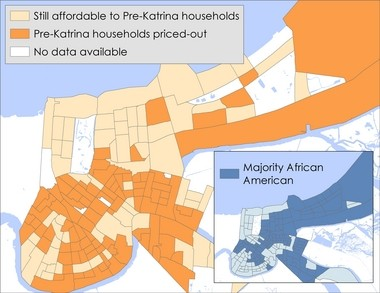 The Greater New Orleans Fair Housing Action Center compared income data from 2000 with rental rates from 2009-2013 to find where people are likely to be priced out of their neighborhood. Before Katrina, most households could cover rent without spending more than 30 percent of their income. By 2013, that was changing. Census tracts in dark orange are those where the center says pre-Katrina residents are likely to be priced out. Those are areas where rents now exceed 30 percent of the median household incomes of residents who lived there in 2000. (Graphic courtesy of the Fair Housing Action Center)