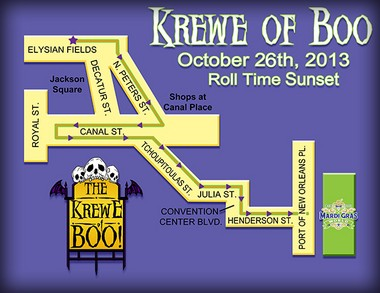Krewe of BOO! 2013 parade route