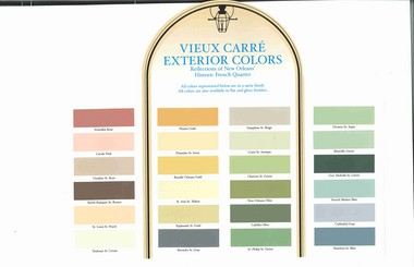 The Sherwin-Williams store in the French Quarter (at 209 N. Peters St.) offers a Vieux Carre historic color chart. Exterior paint colors in the French Quarter, though, still have to be approved by the Vieux Carre Commission.