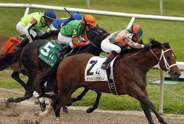 Rosie Napravnik, pictured during her winning ride aboard Mark Valeski in the Mineshaft Handicap, has dominated the 2012-13 meet at the Fair Grounds.