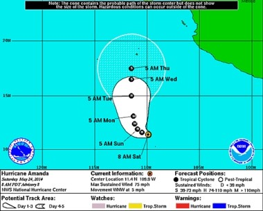 Amanda, the first hurricane of the eastern Pacific season, is intensifying rapidly.
