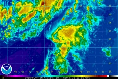 The remnants of Tropical Depression Fred at 4:15 p.m. Sunday (Sept. 6).