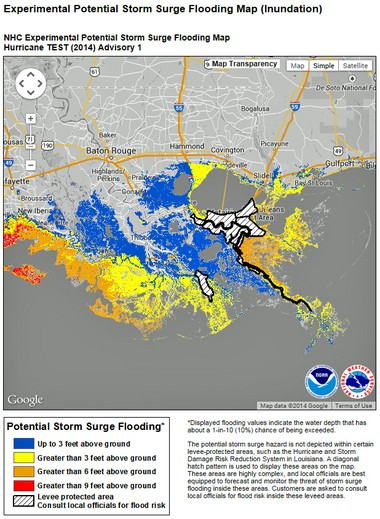 An example of a storm surge inundation map for southeastern Louisiana and southern Mississippi. Note that the area within the New Orleans area and South Lafourche levee systems is hatched. Local National Weather Service and emergency officials will provide more information on potential floodwater heights in those areas.