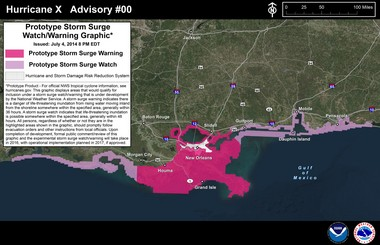 An example of a test storm surge watch and warning map for southeastern Louisiana and southern Mississippi. A version of the watch and warning map will be used during the 2016 hurricane season on an experimental basis.