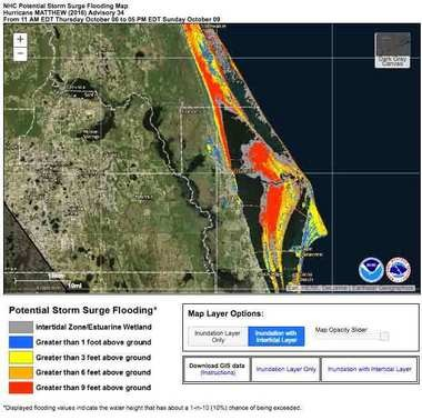 Hurricane Matthew is expected to produce storm surges that have a worst case chance of raising water levels to 9 feet or greater, in red, in the Titusville, Fla., area, which includes Cape Canaveral.