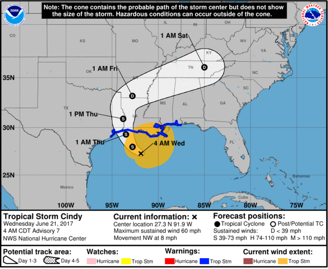 Here's the 5-day track for Tropical Storm Cindy as of 4 a.m. Wednesday (June 21). (Image via National Hurricane Center)