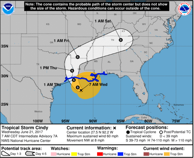 There's the latest 5-day track for Tropical Storm Cindy, as of 7 a.m. Wednesday (June 21). (Image via National Hurricane Center)