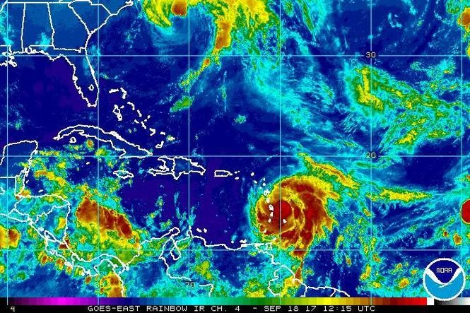 """Hurricane Maria is forecasted to """"rapidly"""" strengthen as it approaches the Caribbean. (Image via NOAA)"""