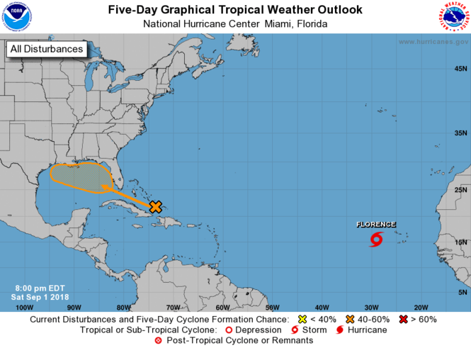 The National Hurricane Center was monitoring a tropical wave Saturday, Sept. 1, 2018, over the Turks and Caicos islands. The system, expected to move into the eastern Gulf of Mexico on Labor Day, has a 50 percent chance of developing into a tropical cyclone as of 7 p.m. Saturday.
