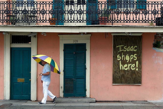 French Quarter humor as Hurricane Isaac approached New Orleans, Tuesday Aug. 28, 2012.