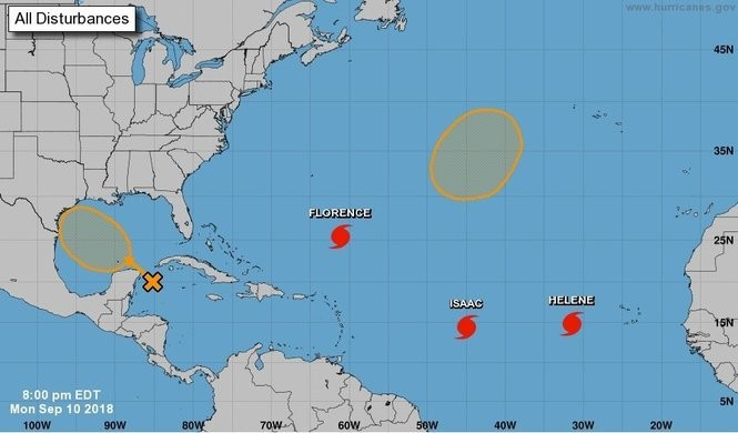 The National Hurricane Center currently is tracking five disturbances, including Hurricane Florence, Hurricane Helene and Hurricane Isaac.