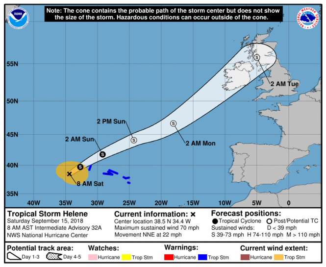 Tropical Storm Helene was racing across the Atlantic Ocean at 22 mph on Saturday for Ireland, Northern Ireland and Scotland. (Map by National Hurricane Center)