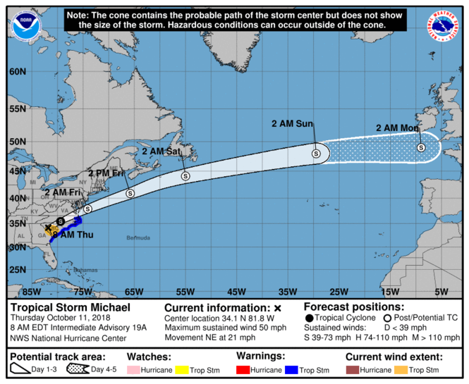 Michael had been downgraded to a tropical storm Thursday morning (Oct. 11), the National Hurricane Center said. (Image via National Hurricane Center)