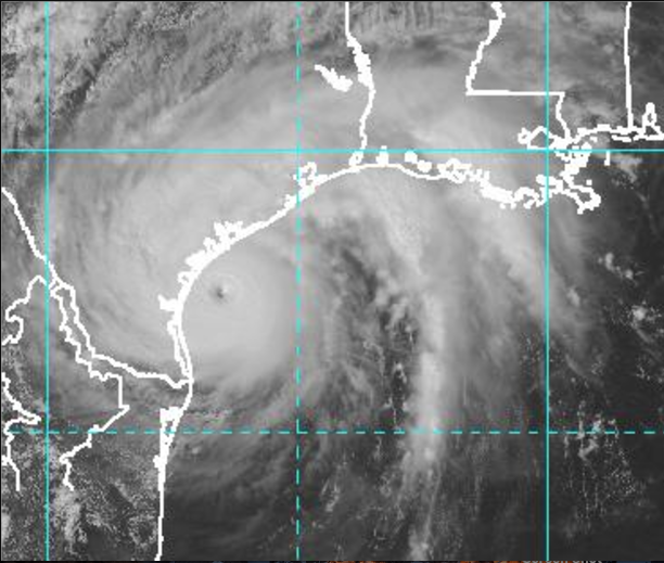 Satellite imagery shows Hurricane Harvey near the South Texas coast on Friday afternoon, August 25, 2017. (Image courtesy of the National Oceanic and Atmospheric Administration)
