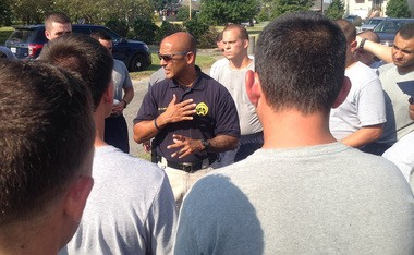 NOPD Sargent David Duplantier speaks to recruits after the 'Recovery Run' in Lakeview, Aug. 29, 2005 (photo by Doug MacCash / NOLA.com   The Times-Picayune)
