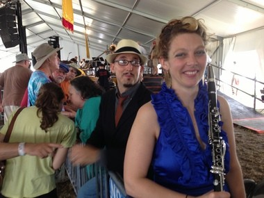 Aurora Nealand, right, with drummer Paul Thibodeaux at the New Orleans Jazz Fest's Peoples Health Economy Hall Tent on Thursday, May 2, 2013.