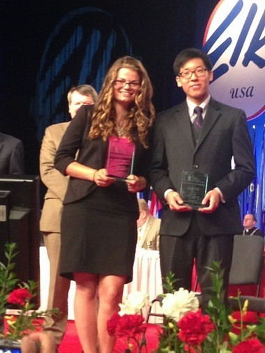 Autumn Pack and Eric Kim, top Elks Most Valuable Student award winners, who won scholarships worth $50,000. They received their awards at the Elks Convention at the Ernest N. Morial Convention Center Thursday morning.