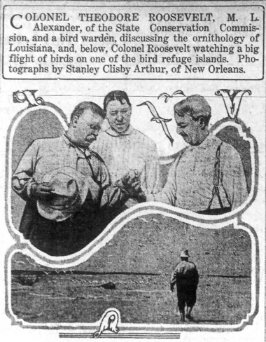 Teddy Roosevelt during a visit to the Louisiana coast in 1915, as seen in a clipping from the States Item. (File image)