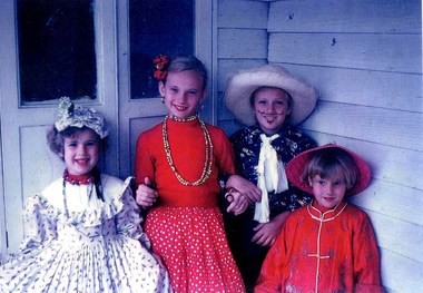 The Schroth sisters, in 1955 during Mardi Gras in New Orleans.