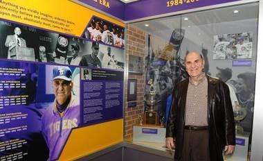 Skip Bertman poses with his display in the LSU Wally Pontiff Jr. Hall of Fame at Alex Box Stadium.