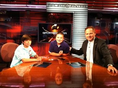 Where Les Miles goes, his kids follow. Miles took his son Ben (center) when he traveled to the ESPN studios in Bristol, Conn. Also pictured is Grant Bonnette, son of LSU sports information director Michael Bonnette.