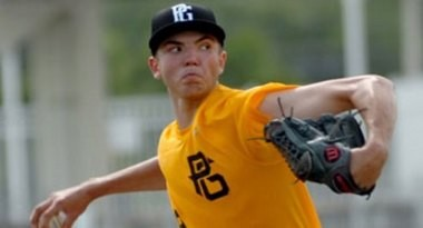 Riley Pint throws a fastball consistently clocked in the mid-90 mph range.