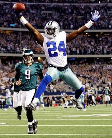 Former LSU star Morris Claiborne celebrates after a 50-yard fumble return for a touchdown against Philadelphia last season.