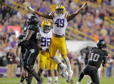 LSU's Arden Key (49) will make the switch from defensive end to outside linebacker in his second season with the Tigers