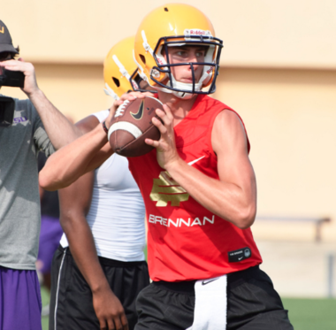 LSU commitment Myles Brennan runs a drill at the LSU prospect camp. (Amos Morale III)