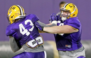 LSU linebacker Ray Thornton (43) has learned both the F and Buck outside linebacker positions.