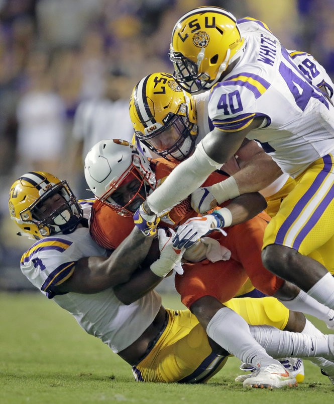 Devin White leads the SEC in tackles this season with 62 in the first six games. (Photo byBrett Duke, NOLA.com | The Times-Picayune)