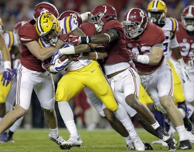 Current starting LSU running back Derrius Guice has two career carries (both last year) for 8 yards vs. Alabama.