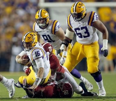 LSU quarterback Danny Etling (16) was sacked a season-high five times in last season's 10-0 loss to Alabama in Tiger Stadium.