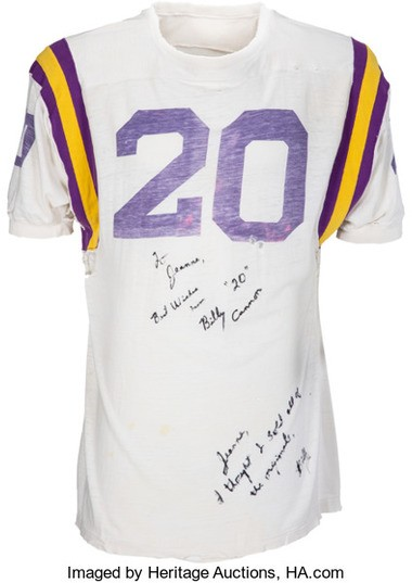 The used and signed authentic Billy Cannon jersey being auctioned
