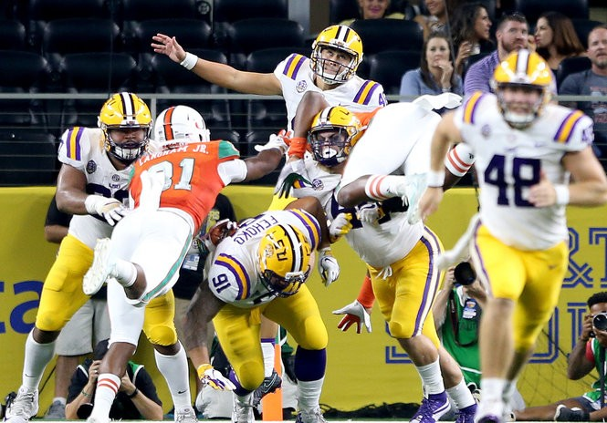 LSU punter Zach Von Rosenberg (46) during the 2018 Advocare Classic between the Miami Hurricanes and LSU Tigers at AT&T Stadium in Arlington, Texas on Sunday, September 2, 2018.