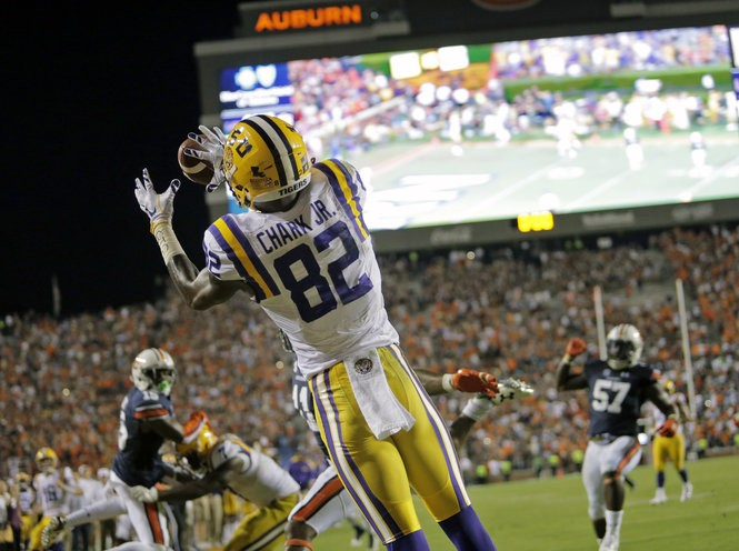 LSU wide receiver D.J. Chark (82) caught a pass that almost gave LSU a comeback victory. Instead, Auburn won, 18-13 after officials determined the snap didn't get off in time.(Photo by Brett Duke, NOLA.com | The Times-Picayune)