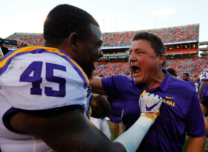 AUBURN, AL - SEPTEMBER 15: Head coach Ed Orgeron celebrates with Michael Divinity Jr. #45 of the LSU Tigers after their 22-21 win over the Auburn Tigers at Jordan-Hare Stadium on September 15, 2018 in Auburn, Alabama. (Photo by Kevin C. Cox/Getty Images) Getty Images
