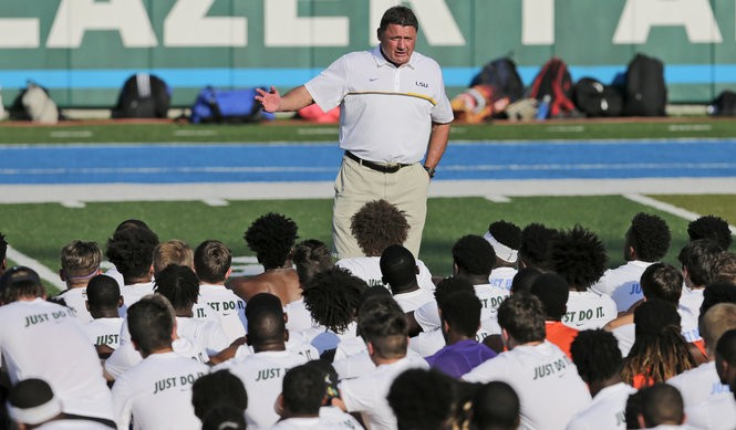 LSU coach Ed Orgeron talks with campers during the Tulane/LSU football camp at Tulane's Yulman Stadium in New Orleans on Friday, June 16, 2017. The camp gave some of the top prospects an opportunity to showcase their skills in front of coaching staffs from both teams. (Photo by Brett Duke, Nola.com   The Times-Picayune)