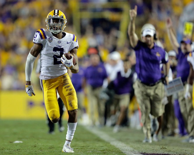 LSU Tigers wide receiver Justin Jefferson (2) runs to the end zone for a touchdown against the Mississippi Rebels during first half action in Baton Rouge on Saturday, September 29, 2018. (Photo by Brett Duke, NOLA.com | The Times-Picayune) NOLA.com | The Times-Picayune